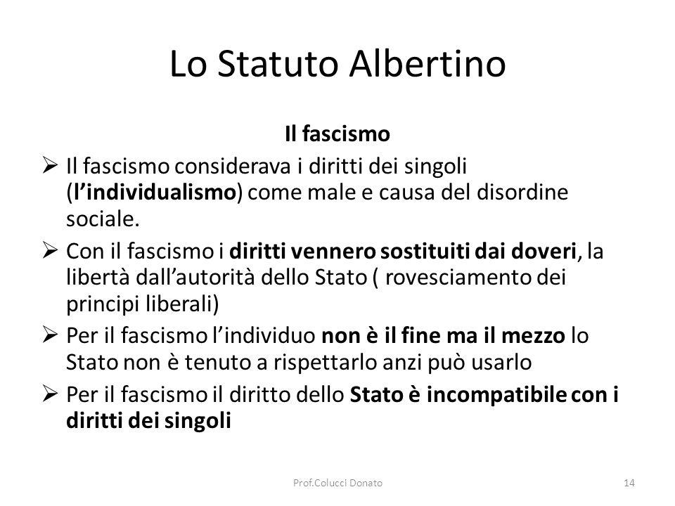 Lo Statuto Albertino Il fascismo Per il fascismo lo Stato deve essere totalitario ovvero negare la vita privata dei singoli Per il fascismo Tutto nello Stato, niente al di fuori dello Stato, nulla contro lo Stato Per il fascismo non esiste una morale individuale ma letica statale LO STATO ETICO.