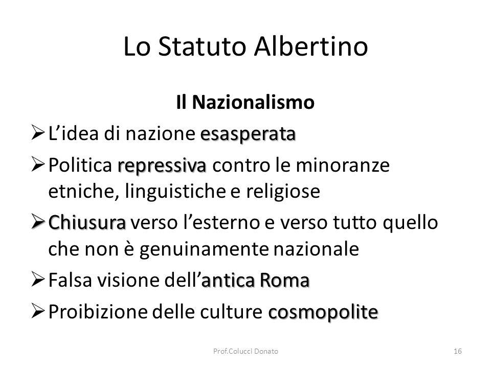 Lo Statuto Albertino Il Nazionalismo guerra Cultura della guerra colonialismo Cultura del colonialismo Disprezzo razzista Disprezzo razzista verso gli altri popoli Il totalitarismo fascista non fu realizzato integralmente grazie al fatto che il fascismo non possedeva una sua religione come la sua visione etica dello Stato.