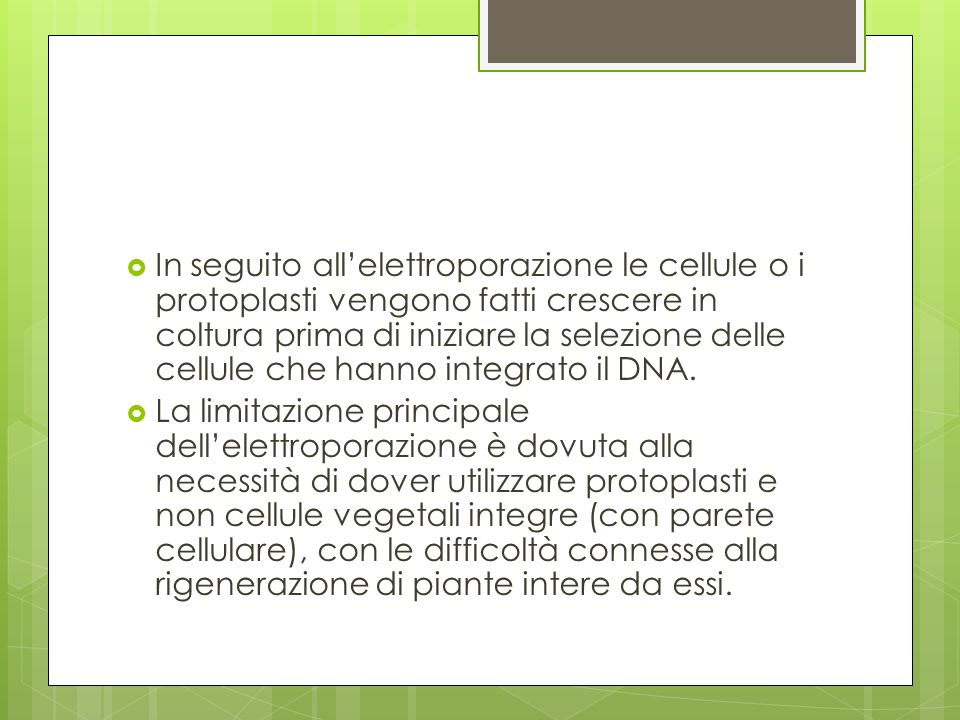 Metodo biolistico Il metodo biolistico è attualmente utilizzato per inserire geni estranei in cellule vegetali.