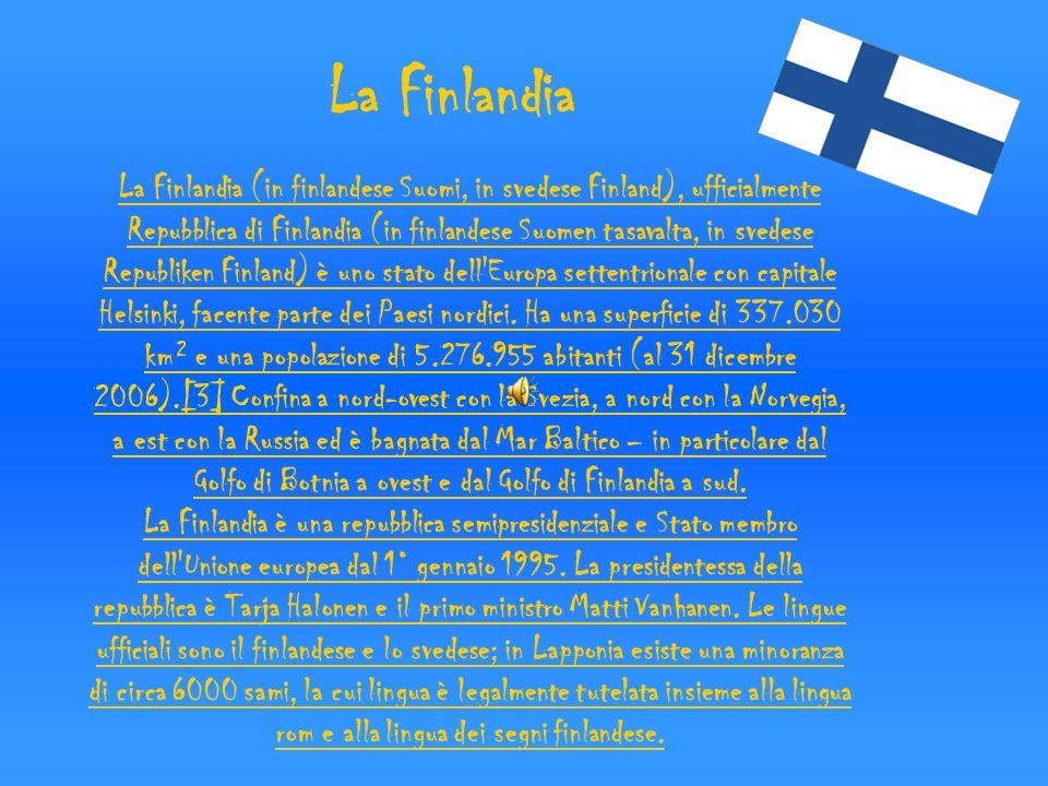 Geografia Il territorio della Finlandia, collocato nella parte orientale della regione geografica chiamata Fennoscandia, è compreso fra i 60° e i 70° di latitudine, oltre un terzo del territorio è a nord del Circolo Polare Artico ciò fa del paese uno degli stati più settentrionali al mondo.