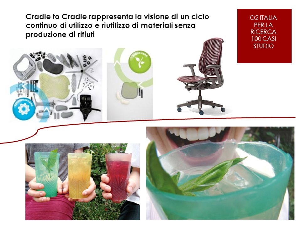 O2 ITALIA PER LE AZIENDE Cradle to Cradle rappresenta la visione di un ciclo continuo di utilizzo e riutilizzo di materiali senza produzione di rifiuti