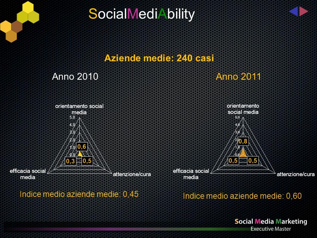 Indice medio aziende piccole:0,16 Indice medio aziende piccole: 0,28 SocialMediAbility Anno 2010 Anno 2011 Aziende piccole: 240 casi