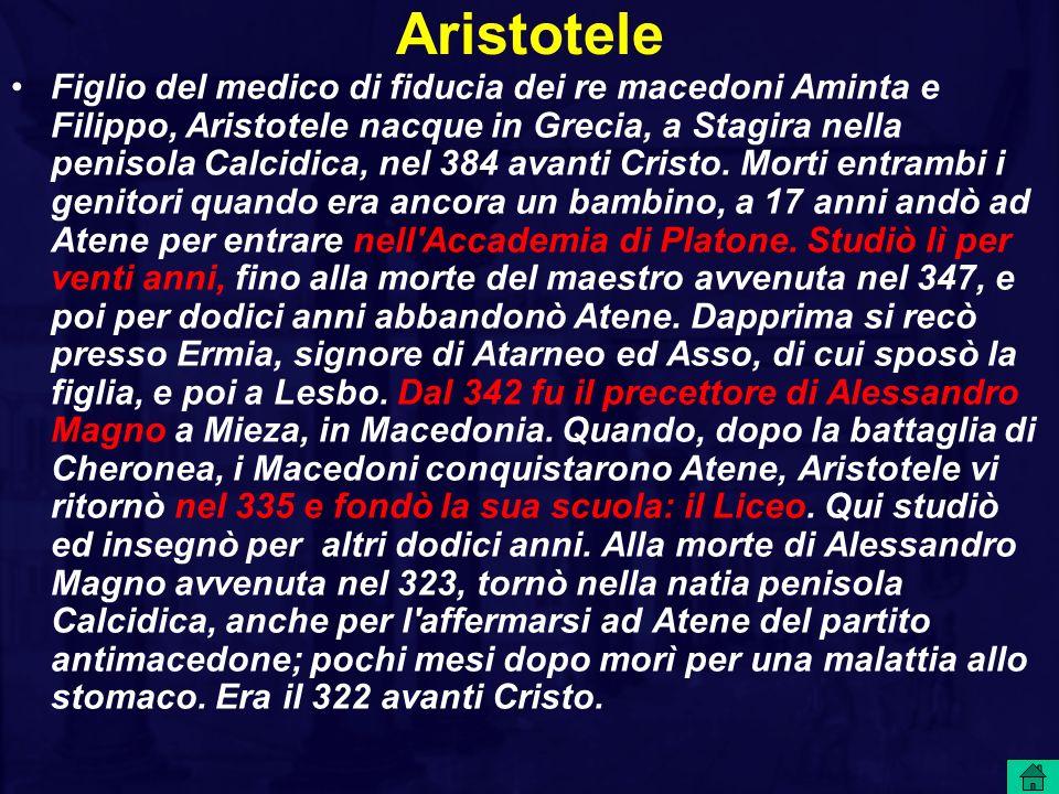 Le opere di Aristotele che sono giunte fino a noi sono i corsi delle lezioni tenute all Accademia ed al Liceo, e furono in parte redatte dai suoi allievi.