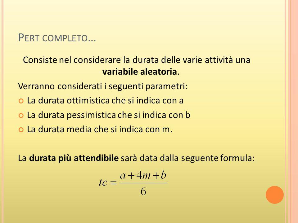 P ERT COMPLETO Trattandosi di una variabile aleatoria occorrerà calcolare la varianza: