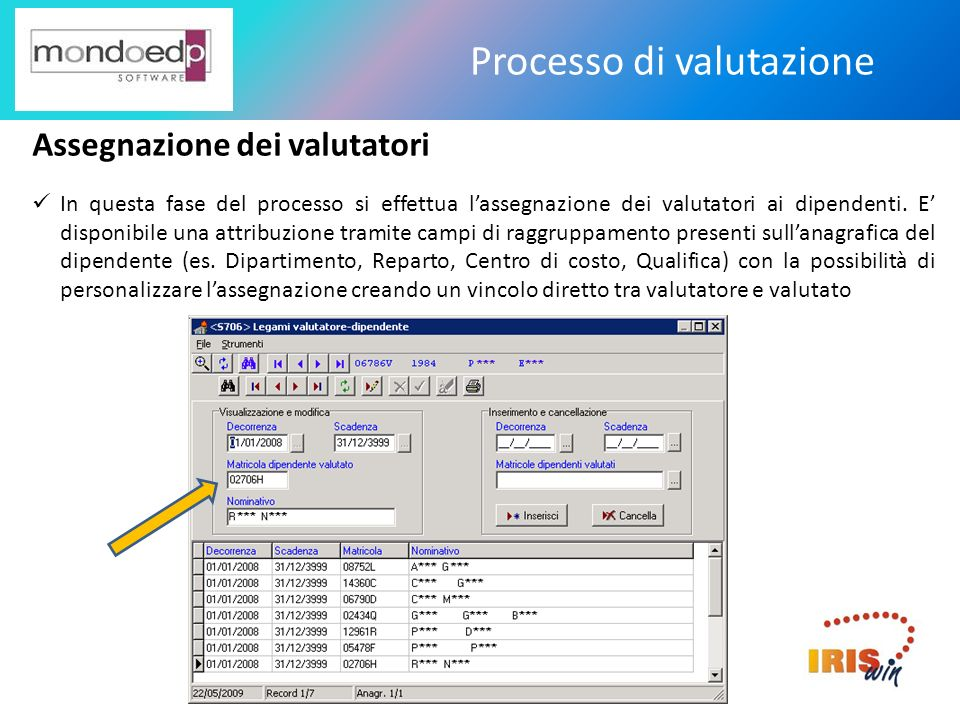 Processo di valutazione Accesso alla scheda pubblicata Attraverso il portale IrisWEB il dipendente può accedere alla scheda pubblicata già con gli obiettivi assegnati pur se priva di punteggi, e certificarne la presa visione