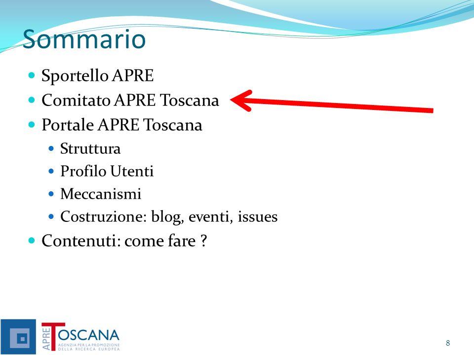 Comitato Regionale Apre Toscana Aperto a Soci APRE e non Per definire delle strategie comuni Per raggiungere obiettivi comuni Per fornire dei servizi più completi sul territorio Informazione, formazione, assistenza, etc..