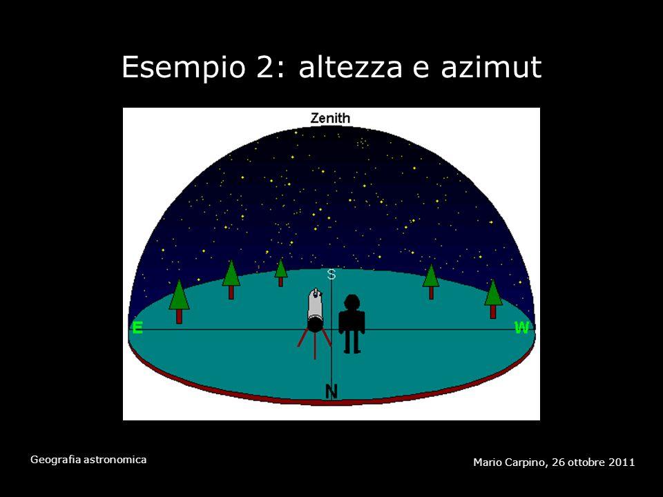 Esempio 2: altezza e azimut Mario Carpino, 26 ottobre 2011 Geografia astronomica