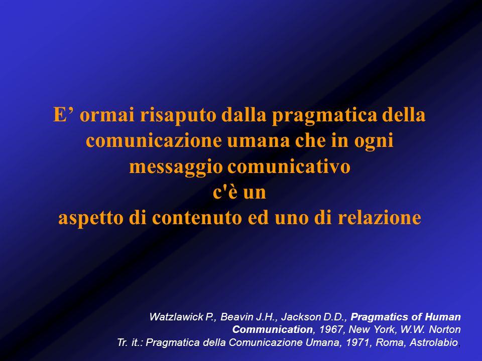 E impossibile non comunicare, perché ogni comportamento è comunicazione, invia un messaggio agli altri, che lo si voglia oppure no La sottolineatura dell importanza della relazione all interno della tecnica, sia essa psicoterapeutica che psicofarmacologica, ha assunto nel tempo nuove e più stimolanti connotazioni Watzlawick P., Beavin J.H., Jackson D.D., Pragmatics of Human Communication, 1967, New York, W.W.