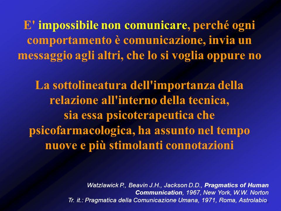 Comunicazione e relazione Ogni qualvolta ci riferiamo ad una forma di relazione, è possibile rilevare uno scambio di una qualche forma di comunicazione, verbale e non In psichiatria, la complessità insita è ulteriormente accentuata