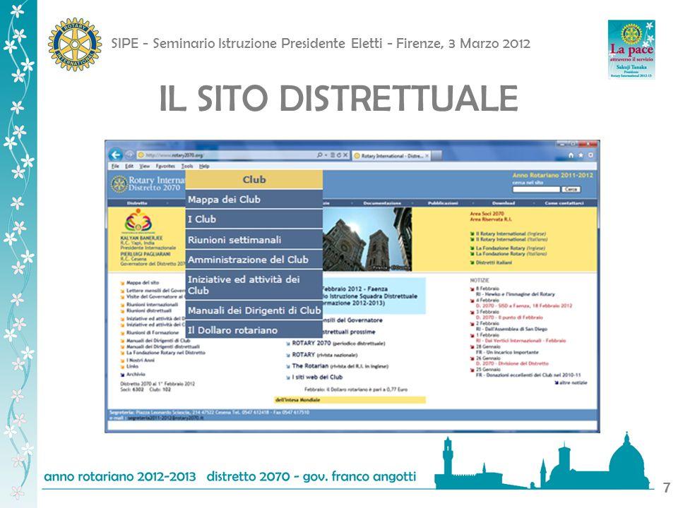 SIPE - Seminario Istruzione Presidente Eletti - Firenze, 3 Marzo 2012 8 IL SITO DISTRETTUALE