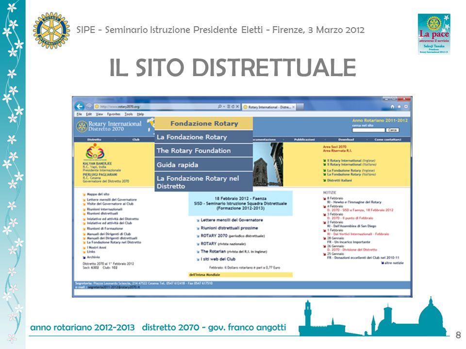 SIPE - Seminario Istruzione Presidente Eletti - Firenze, 3 Marzo 2012 9 IL SITO DISTRETTUALE