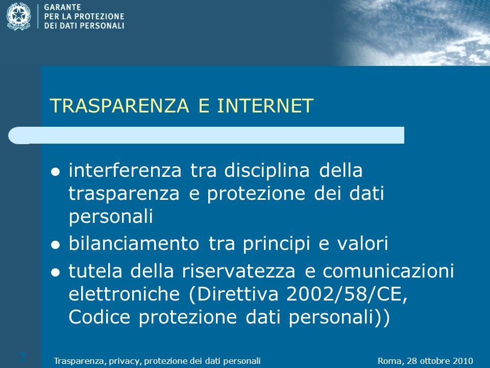 DIRITTO ALLA PROTEZIONE DEI DATI PERSONALI Art.1 d.lgs.