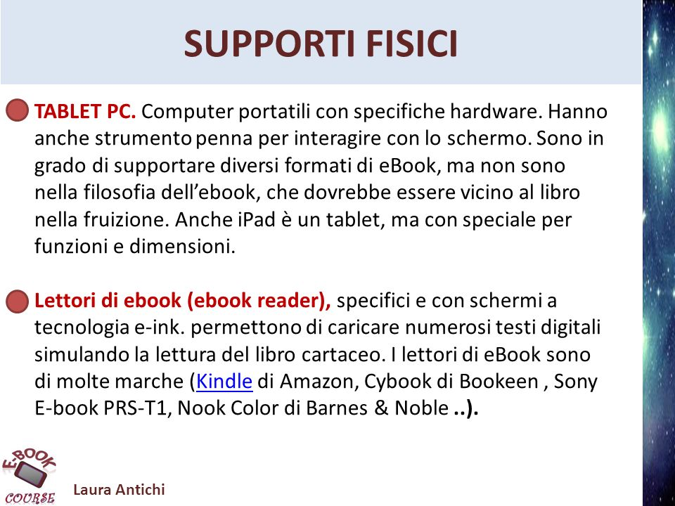 Laura Antichi Information Literacy STRUTTURA DEI FILE EPUB http://www.graficicreativi.com/digital-publishing/20333- la-struttura-del-file-epub.html http://www.ibm.com/developerworks/xml/tutorials/x- epubtut/downloads.html