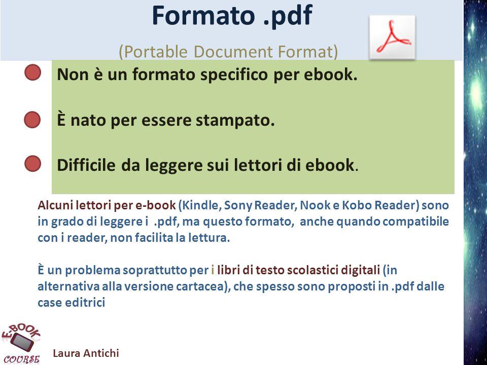 Laura Antichi Formato MobiPocket/Kindle Amazon ha acquistato nel 2005 mobiPocket, un vecchio formato nel quale ha introdotto delle modifiche e lo ha usato per il Kindle.