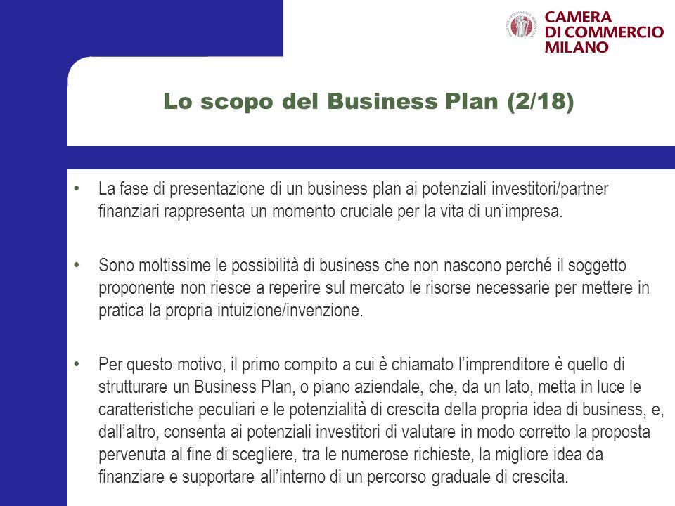 La struttura del Business Plan (3/18) Esistono alcuni principi generali che il soggetto proponente dovrebbe seguire nella stesura del Business Plan di presentazione del progetto imprenditoriale.