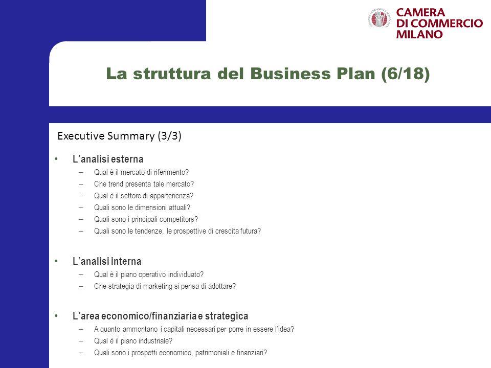 La struttura del Business Plan (7/18) Questa sezione è dedicata alla descrizione approfondita del soggetto, o soggetti, nel caso di più proponenti, che si rivolgono allinvestitore istituzionale per ottenere il sostegno necessario al fine di sviluppare la propria idea di business.