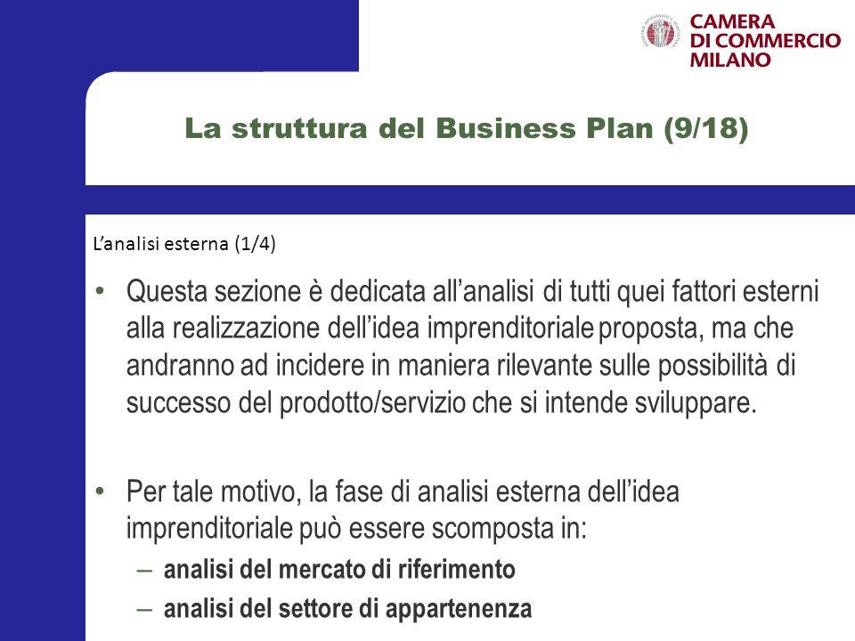 La struttura del Business Plan (10/18) Lanalisi del mercato di riferimento, attuale e potenziale, costituisce il momento in cui vengono evidenziate le reali opportunità per lidea imprenditoriale di raggiungere gli obiettivi prefissati, definendo lambiente competitivo in cui la nascente società andrà a collocarsi.