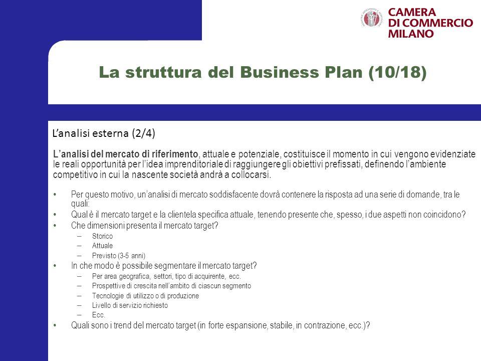 La struttura del Business Plan (11/18) Lanalisi del settore di appartenenza, invece, consente di valutare effettivamente la situazione del settore di appartenenza del prodotto/servizio che si intende immettere sul mercato di riferimento precedentemente individuato e descritto.