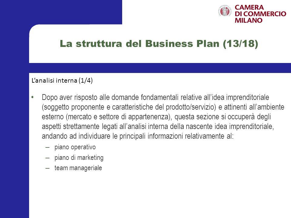 La struttura del Business Plan (14/18) Nel piano operativo devono essere elencate le azioni e le attività, includendo le relative tempistiche (data di inizio e data di fine), necessarie per raggiungere gli obiettivi prefissati ed ipotizzati.