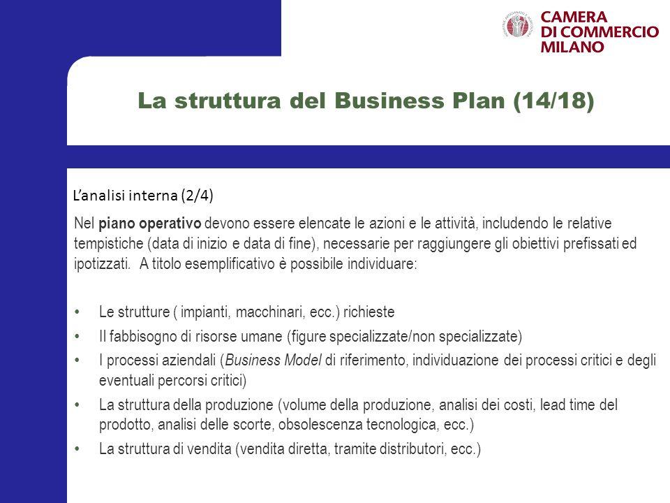 La struttura del Business Plan (15/18) Nel piano di marketing devono essere dettagliate le ipotesi circa i metodi di promozione, distribuzione e vendita del prodotto/servizio che si intende immettere sul mercato.