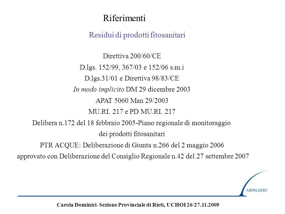 Riferimenti Ipa in acque potabili D.lgs.31/01 e Direttiva 98/83/CE In modo implicito DM 29 dicembre 2003 152/06 Tabella 1/A potabilizzabili 152/06 Tabella 2 sotterranee e D.lgs.