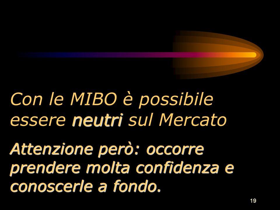 19 neutri Con le MIBO è possibile essere neutri sul Mercato Attenzione però: occorre prendere molta confidenza e conoscerle a fondo.