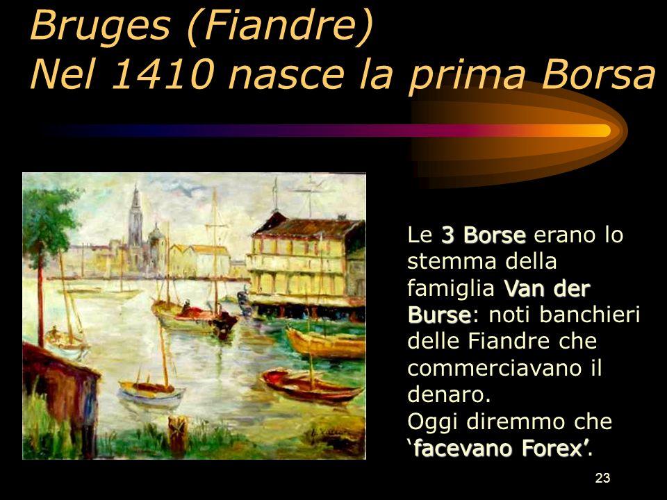 23 Bruges (Fiandre) Nel 1410 nasce la prima Borsa 3 Borse Van der Burse Le 3 Borse erano lo stemma della famiglia Van der Burse: noti banchieri delle Fiandre che commerciavano il denaro.