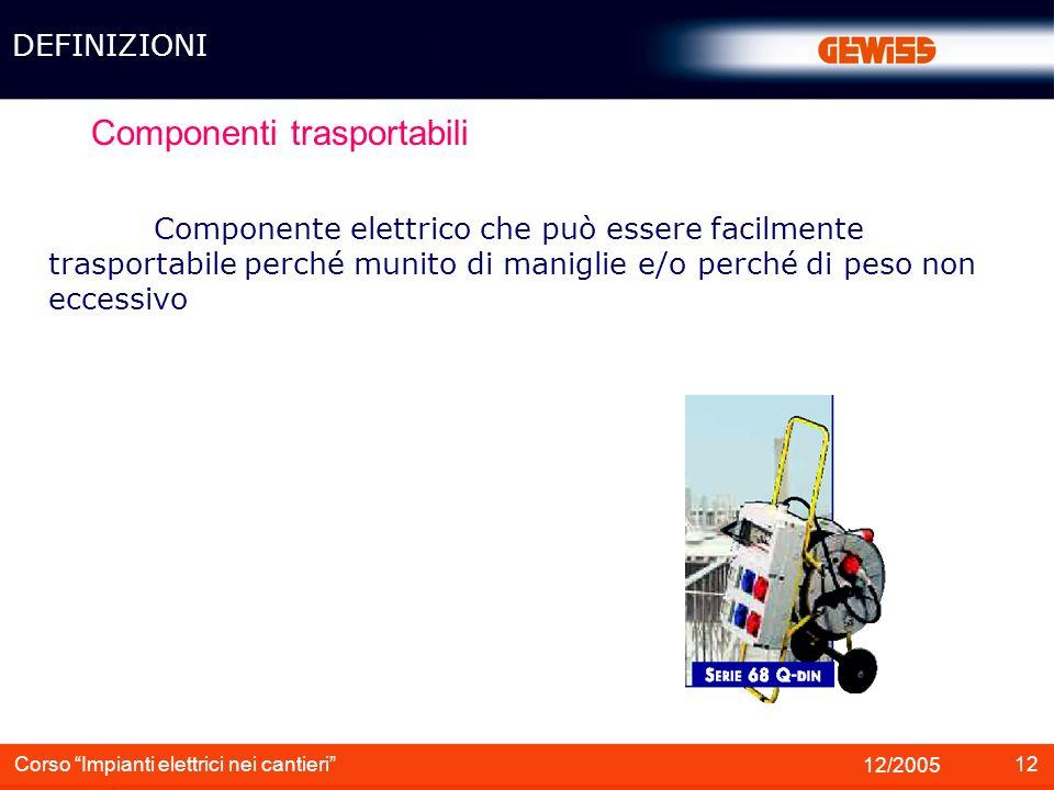 13 12/2005 Corso Impianti elettrici nei cantieri Componenti fisso Componente elettrico che non sia trasportabile, mobile o portatile DEFINIZIONI