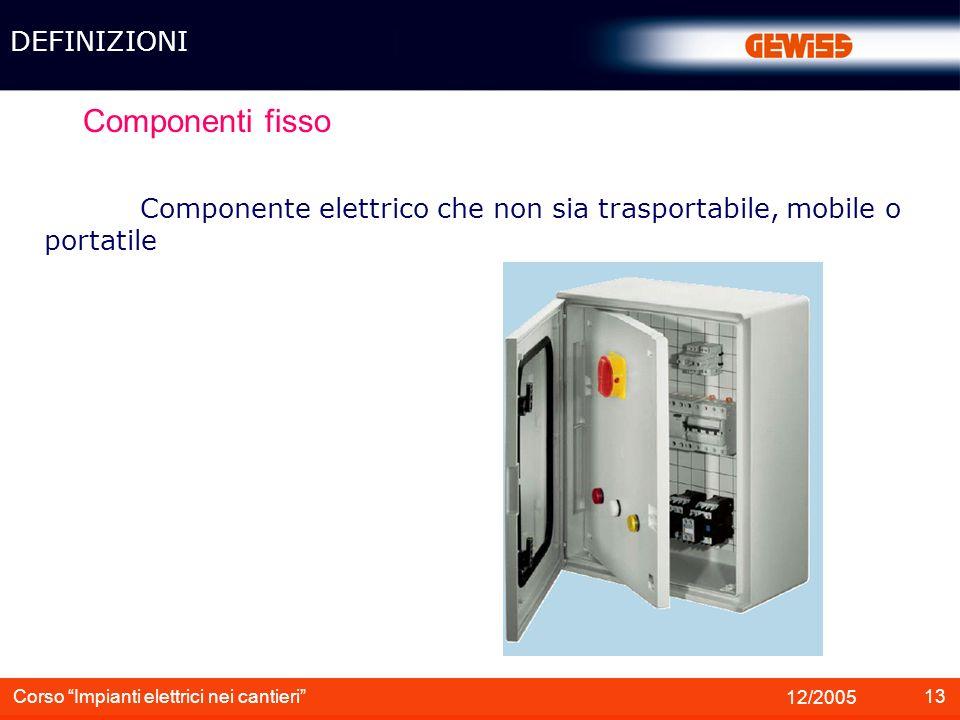 14 12/2005 Corso Impianti elettrici nei cantieri Componente portatile Componente elettrico destinato ad essere sorretto con le mani durante il funzionamento DEFINIZIONI HOBBY