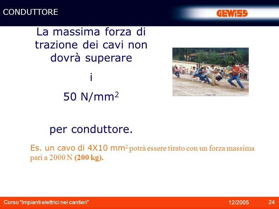 25 12/2005 Corso Impianti elettrici nei cantieri Attenzione alle temperature ambientali minime: I cavi con isolante e guaina in PVC (es.
