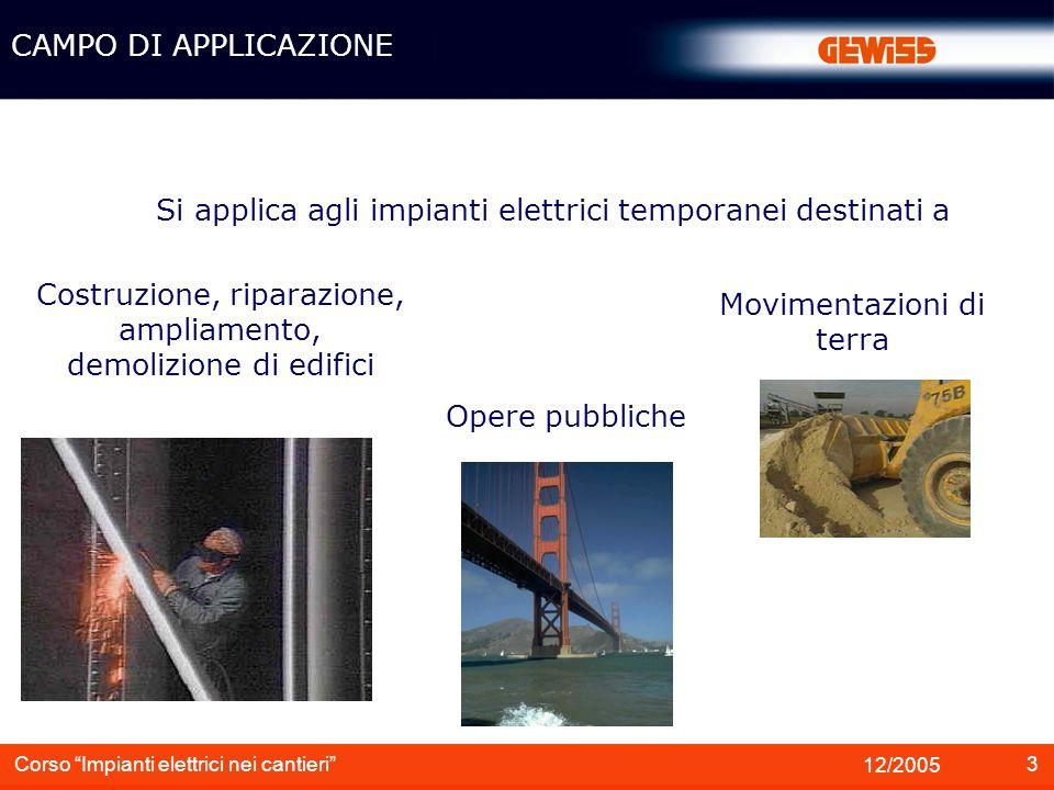 4 12/2005 Corso Impianti elettrici nei cantieri Non si applica agli impianti elettrici nei: Locali di servizio dei cantieri Miniere CAMPO DI APPLICAZIONE