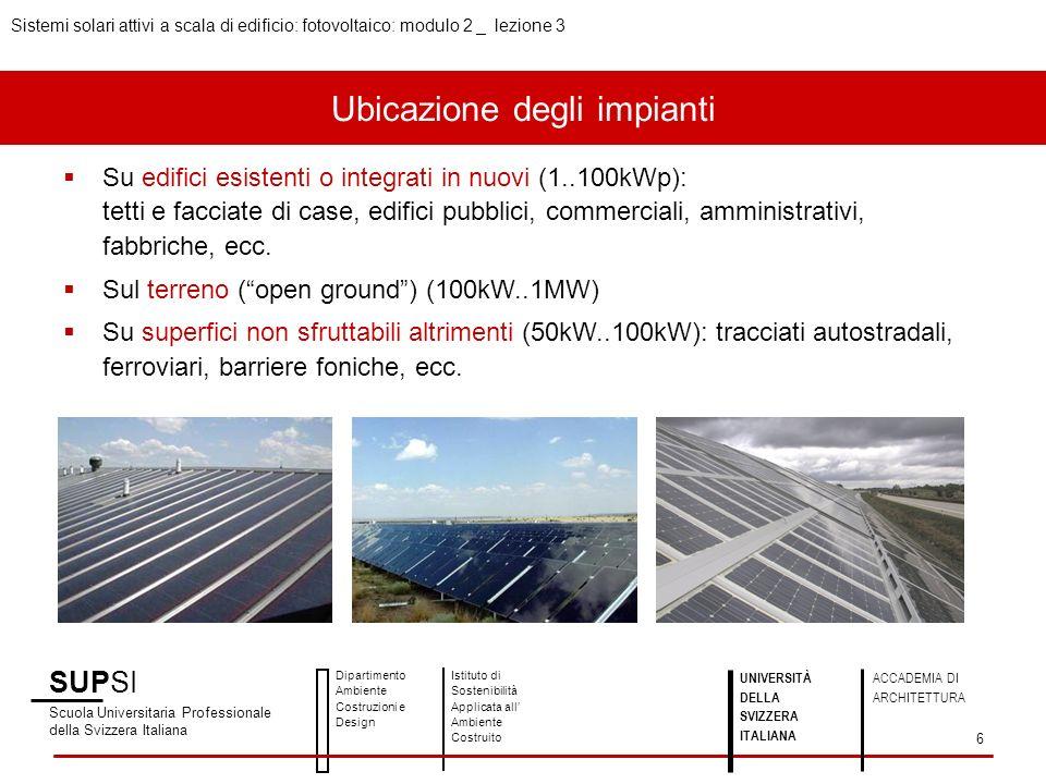 Ubicazione degli impianti Elementi di uninstallazione collegata alla rete 1.Struttura portante / fissaggio 2.Moduli PV 3.Cablaggio 4.Ondulatore 5.Contatore denergia 6.Protezioni (parafulmini, sovratensioni, ecc.) SUPSI Scuola Universitaria Professionale della Svizzera Italiana Dipartimento Ambiente Costruzioni e Design Istituto di Sostenibilità Applicata all Ambiente Costruito 7 UNIVERSITÀ DELLA SVIZZERA ITALIANA ACCADEMIA DI ARCHITETTURA Sistemi solari attivi a scala di edificio: fotovoltaico: modulo 2 _ lezione 3