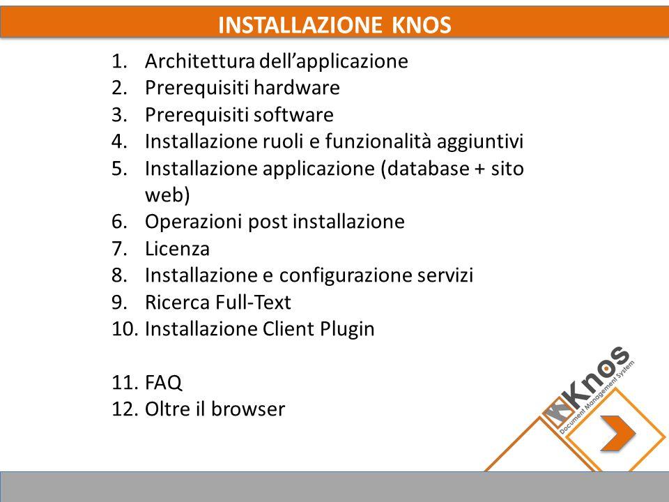 1. ARCHITETTURA DELLA SOLUZIONE KNOS ASP, ASP.NET, WS