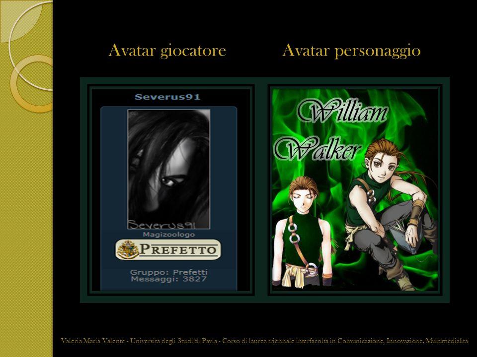 RAPPORTO GIOCATORE PERSONAGGIO La firma digitale Valeria Maria Valente - Università degli Studi di Pavia - Corso di laurea triennale interfacoltà in Comunicazione, Innovazione, Multimedialità