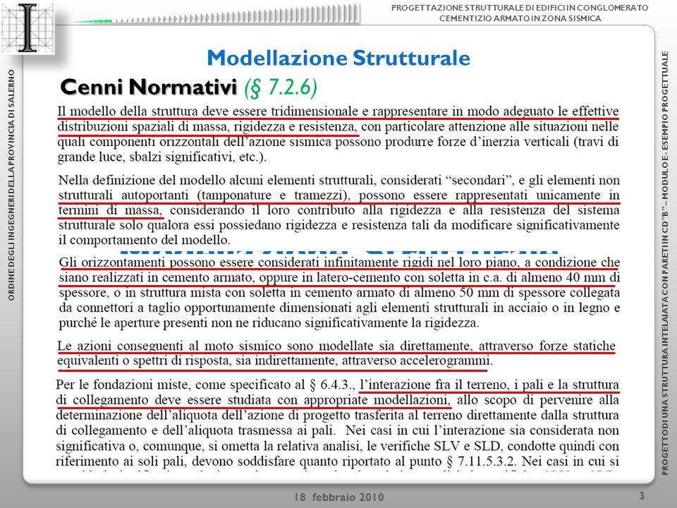 18 febbraio 2010 4 Modellazione Strutturale ORDINE DEGLI INGEGNERI DELLA PROVINCIA DI SALERNO PROGETTODI UNA STRUTTURA INTELAIATA CON PARETI IN CDB – MODULO E - ESEMPIO PROGETTUALE PROGETTAZIONE STRUTTURALE DI EDIFICI IN CONGLOMERATO CEMENTIZIO ARMATO IN ZONA SISMICA Problemi di schematizzazione Connessione Travi-ColonnaLarghezza collaborante