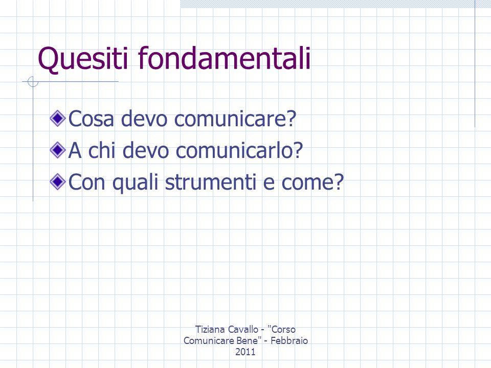 Tiziana Cavallo - Corso Comunicare Bene - Febbraio 2011 Quesiti fondamentali Cosa devo comunicare.