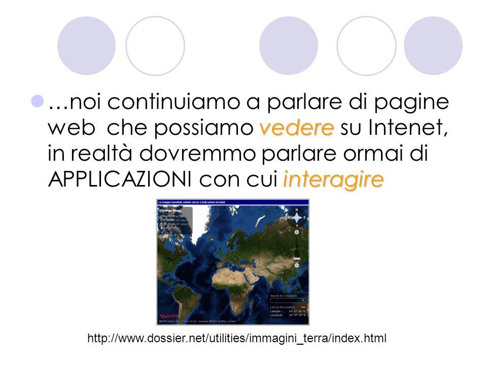 vedere interagire … noi continuiamo a parlare di pagine web che possiamo vedere su Intenet, in realtà dovremmo parlare ormai di APPLICAZIONI con cui interagire http://www.dossier.net/utilities/xara/index.html