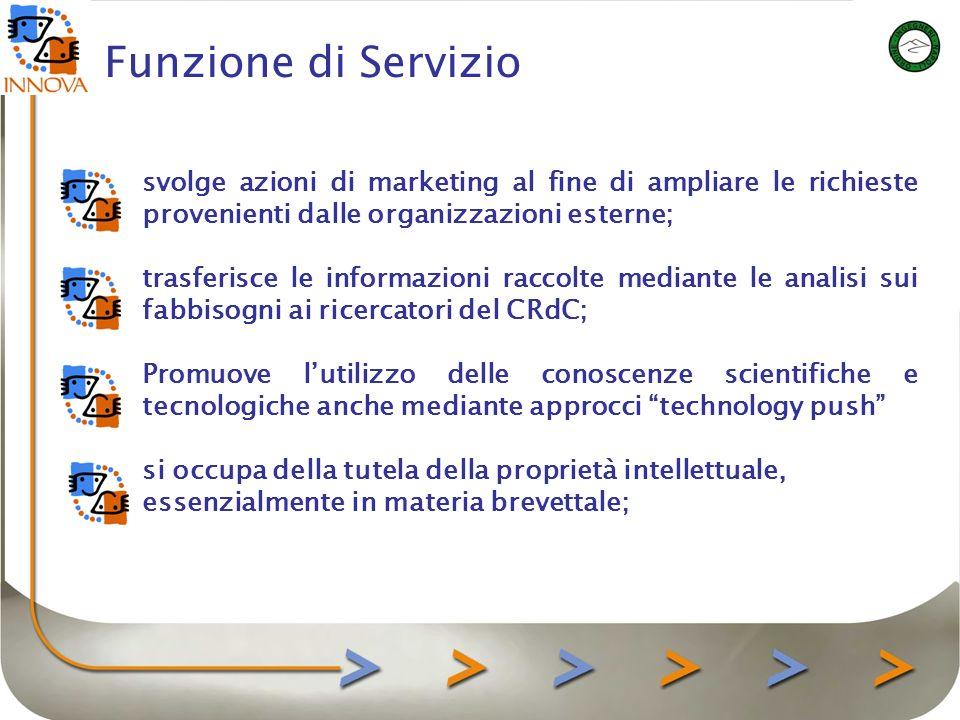 Funzione di Servizio gestisce liter burocratico in materia di accordi di licenza ed assiste le imprese che integreranno le nuove idee sviluppate dai ricercatori del CRdC.
