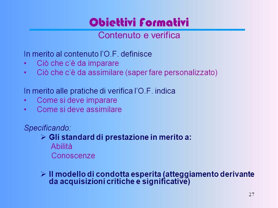27 Obiettivi Formativi Contenuto e verifica In merito al contenuto lO.F.