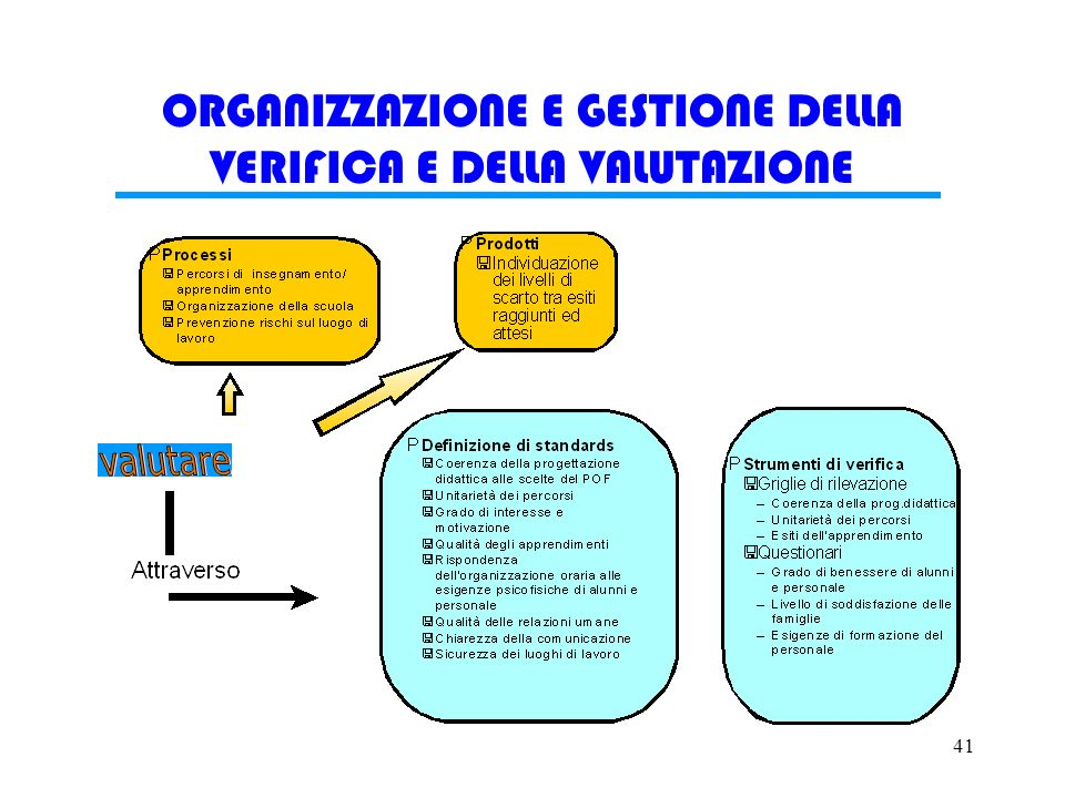 41 ORGANIZZAZIONE E GESTIONE DELLA VERIFICA E DELLA VALUTAZIONE