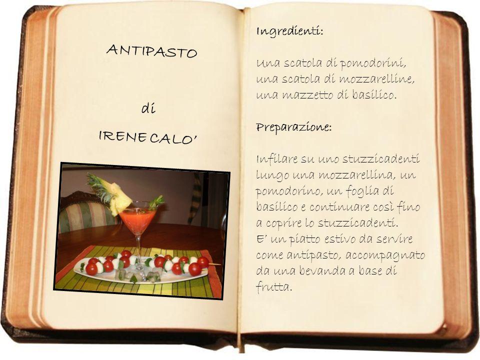 Immagine 021.jpg SPIEDINI NICOLAS di NICOLAS BISCIONE Ingredienti: 1 scatola di mozzarelline Alcuni pomodorini Preparazione: Infilzare su uno stuzzicadenti lungo, alternativamente, una mozzarellina e un pomodorino.