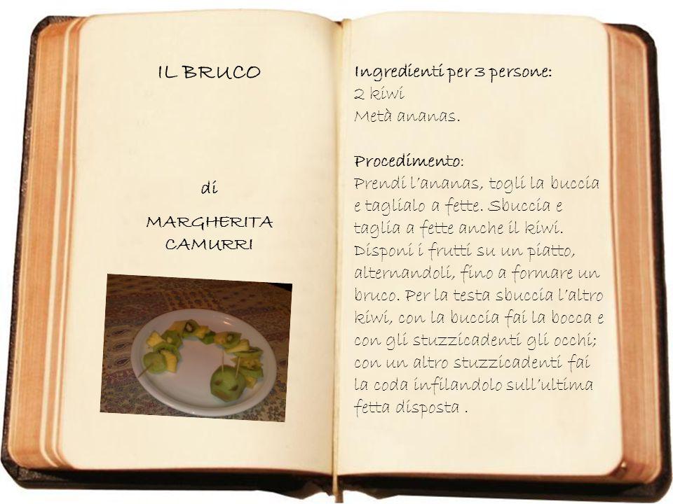 PANINO GINEVRA di GINEVRA BITETTO Ingredienti: un peperone un grappolo duva una mela due finocchi tre pomodori di tipo piccolo Procedimento: Tagliare a metà il peperone, infilare dentro luva, la mela tagliata a metà, i finocchi divisi in due.