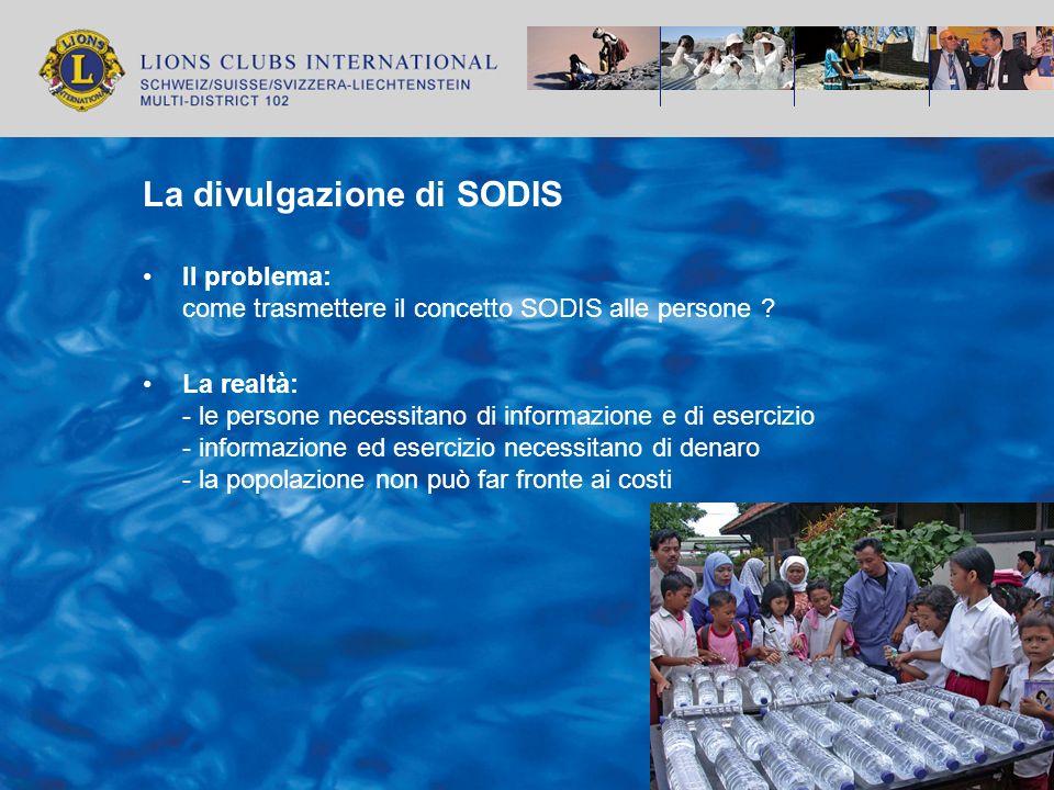 La divulgazione di SODIS La strategia: - Integrazione di SODIS nei progetti attualmente in essere - Divulgazione di SODIS tramite NGOs e Governi - Finanziamento tramite risorse locali ed esterne