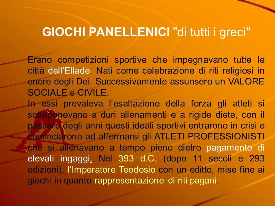 GIOCHI PANALLENICI è un termine collettivo con cui si indicano quattro diverse manifestazioni sportive che si tenevano nellAntica Grecia.
