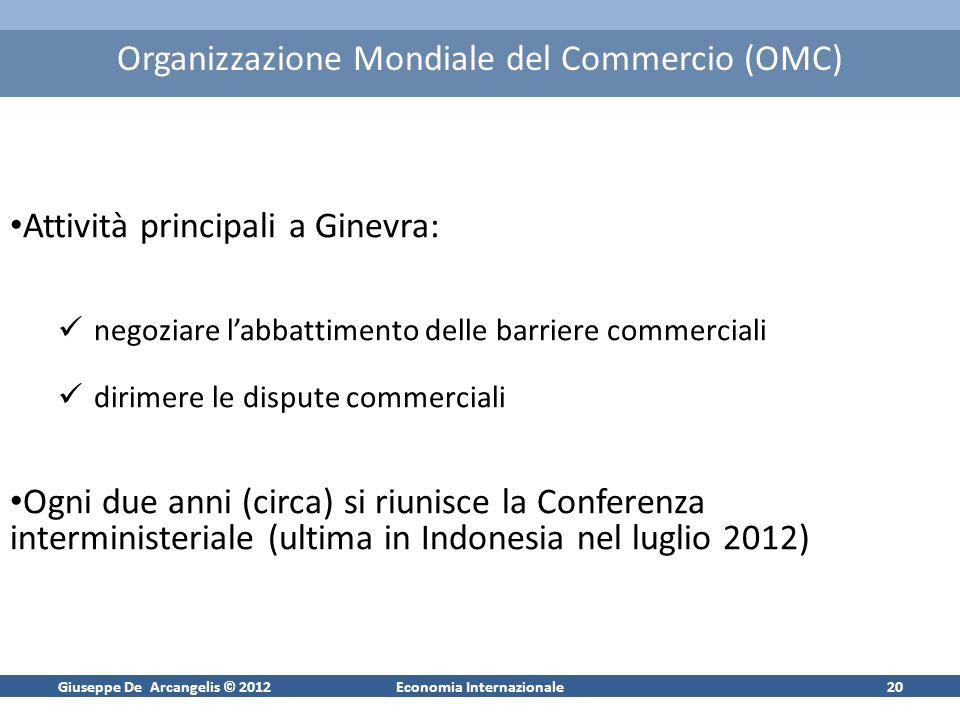 Giuseppe De Arcangelis © 2012Economia Internazionale21 Le negoziazioni presso il GATT