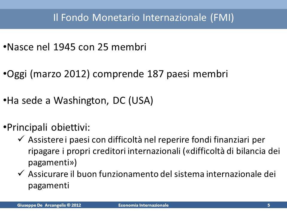 Giuseppe De Arcangelis © 2012Economia Internazionale6 FMI: aree di competenza Sorveglianza; sia di tipo bilaterale (le missioni del Fondo) che multilaterale (redazione di vari rapporti sulleconomia mondiale, ed es.