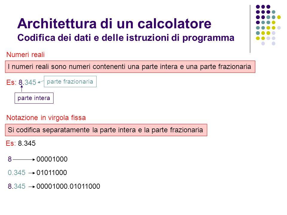 Architettura di un calcolatore Codifica dei dati e delle istruzioni di programma Caratteri I caratteri sono codificati in sequenze di bit mediante un codice di traduzione.