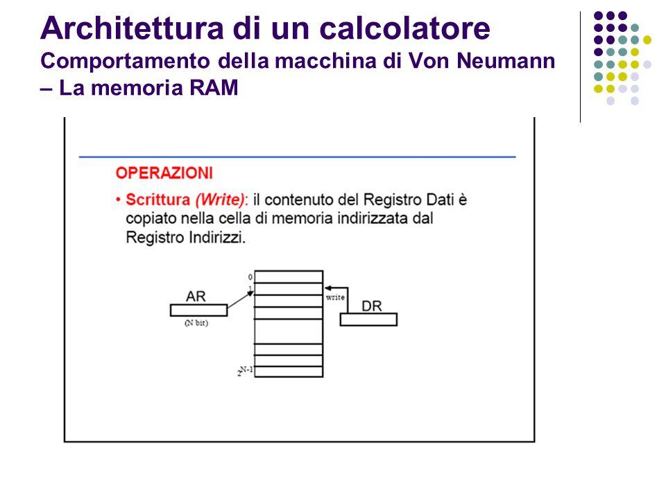 Architettura di un calcolatore Comportamento della macchina di Von Neumann – La memoria ROM La memoria ROM (Read Only Memory) contiene dati e programmi che servono per inizializzare il sistema La memoria ROM può essere solo letta e non scritta dallutente Le memorie ROM sono persistenti