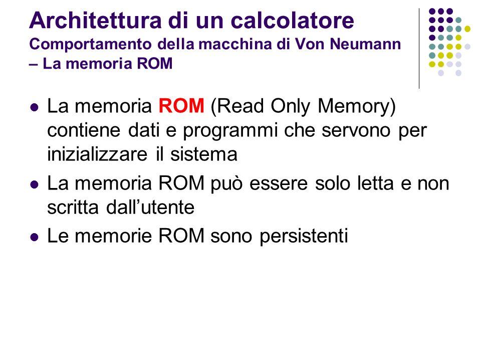 Architettura di un calcolatore Comportamento della macchina di Von Neumann – La memoria ROM Memorie ROM EROM (Erasable ROM): possono essere cancellate sottoponendole a raggi ultravioletti per essere riutilizzate PROM (Programmable ROM): la scrittura della memoria può avvenire anche utilizzando particolari dispositivi (programmatori di ROM) piuttosto che solo durante il processo di costruzione EPROM: ROM cancellabili e programmabili Le ROM hanno alcune caratteristiche dellhardware e altre del software Il software contenuto nella ROM è detto firmware (a cavallo fra hw e sw)