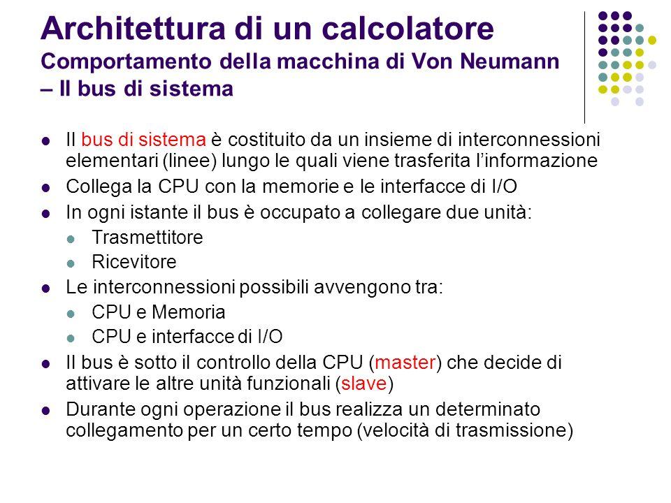 Architettura di un calcolatore Comportamento della macchina di Von Neumann – Il bus di sistema bus di sistema CPU RAMI/O master slave